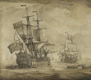 Zeegezicht met Engelse oorlogsschepen
