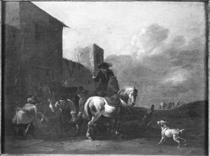 Ruiter en paarden bij de hoefsmid