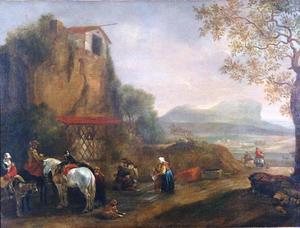 Zuidelijk landschap met biddende pelgrims, jagers en reizigers bij een kapel