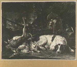 Jachtbuit van haas en gevogelte in een landschap, rechts een liggende hond