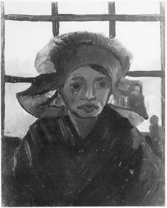 Studie van een boerenvrouw: en face tegen de achtergrond van een raam