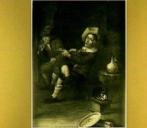Violist en rokende man in herberg