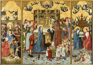Maria-altaarstuk met De Zeven Vreugden van Maria; met de Aanbieding van de wijzen; met de Presentatie in de tempel