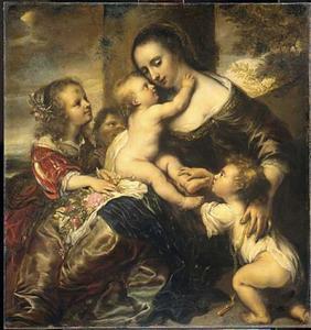 Familieportret van Maria Jens Martens (?-1690) met vier kinderen, voorgesteld als Caritas