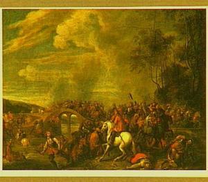 Ruitergevecht bij een brug over een rivier