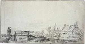 Landschap met brug en huisjes