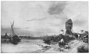 Maas bij Dordrecht, marktlui wachtend op het keren van het getij