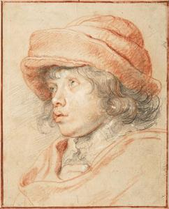 Studie van Nicolaes Rubens (1618-1673) met vilten hoed