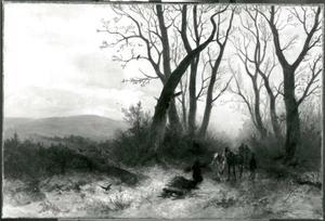 Winters landschap met figuren onder een groep kale bomen