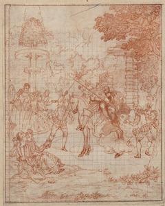 Don Quichot en Sancho op een houten paard gezeten menen door de lucht te rijden om Doloride te gaan wreken