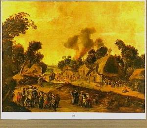 Plundering van een dorp door soldaten