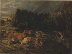 Polderlandschap met herders en elf koeien