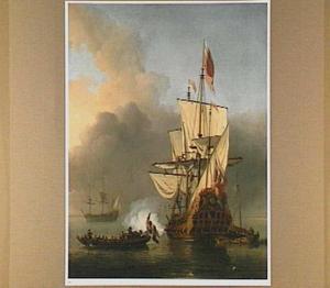 Engels oorlogsschip lost een saluutschot