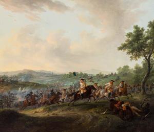 Heuvellandschap met terugtrekkende cavalerie tijdens een veldslag
