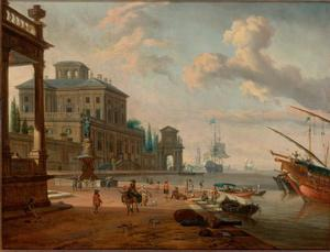 Capriccio van een zuidelijke haven met een fontein, figuren en dieren op de kade en zeilboten