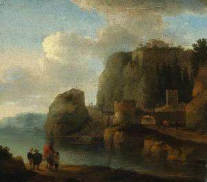 Italianiserend berglandschap met figuren aan de waterkant