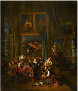 Schilder in zijn atelier