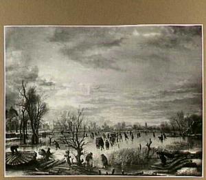 Winterlandschap met rietsnijders