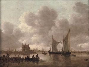 Rivierlandschap met schepen op de Dordtse Kil bij het Oude Wachthuis