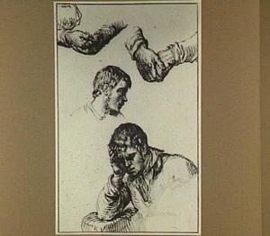Studies van een jongeman die zijn hoofd ondersteunt, een kop van een jongeman en twee paar handen