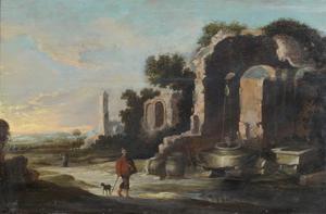 Italianiserend landschap met antieke ruïnes