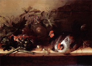 Stilleven met levend gevogelte, vruchten en groenten gerangschikt op een houten tafel