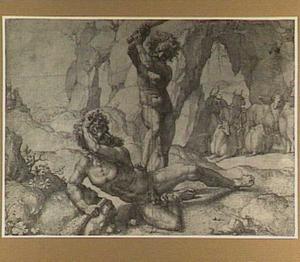 Hercules doodt de reus Eurythion om de runderen van Geryon te roven