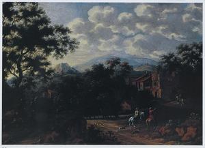 Italianiserend landschap met ruiters