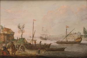Figuren laden boten in een riviermonding