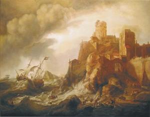 Een schipbreuk op de rotsen