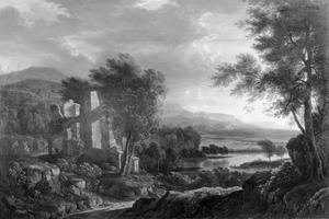 Arcadisch landschap met een ruïne en een meer in de verte