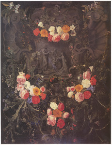 Cartouche met bloemen met een voorstelling van de heilige Catharina van Siena