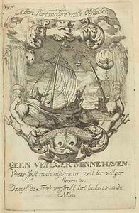 Allegorische voorstelling met een schip, in een cartouche