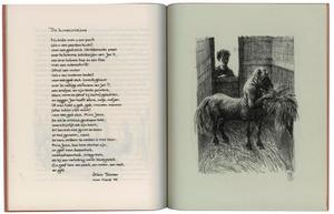 Centaur in stal aan hooiruif met toeschouwer