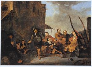 Marskramer toont zijn waren in een dorp