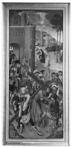 De kruisdraging (op de buitenzijde: de annunciatie: de engel Gabriël)