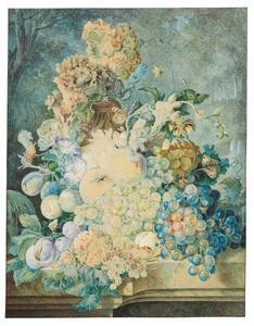 Stilleven met bloemen en vruchten op een stenen plint