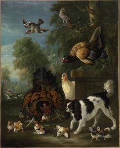 Kippenfamilie die een spaniël afweert in een landschap