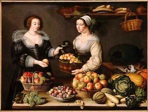 De verkoopster van groente en fruit