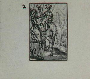 Soldaten en vrouw te paard