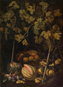 Stilleven met fruit en wijnstokken