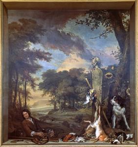 Een jager met hond en jachtbuit in een venster voor een landschap