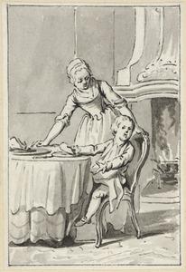 Illustratie voor 'De gezondheid' in de Kleine gedichten voor kinderen door H. van Alphen