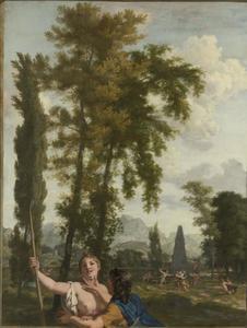 Italiaans landschap met herderspaar