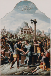 Rebekka geeft  Eliëzer bij de bron te drinken (Genesis 24:46)