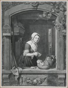 Keukenmeisje in een open venster