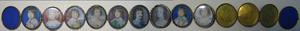 Reeks aaneen verbonden miniaturen met portretten van Frederik V van de Palts (1596-1632), Elizabeth Stuart (1596-1662) en zeven van hun kinderen