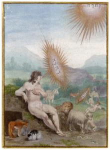 God spreekt tot Adam, met in de achtergrond de schepping van Eva (Genesis 2:19-22)