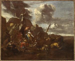 Zuidelijk kustlandschap met wachtende reizigers bij een beeld van Pallas Athene