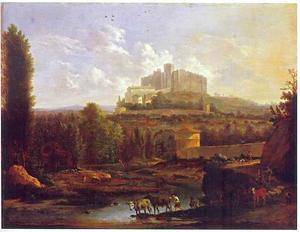 Uitgestrekt landschap met kasteel Francheville in de verte